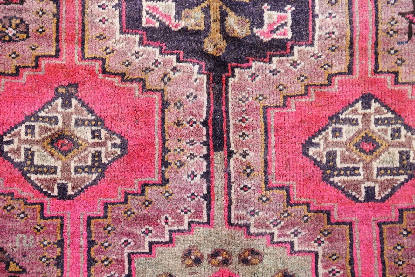 Pink Tribal Geometric Lori Persian Hand-Knotted 3x6 Wool Runner Rug