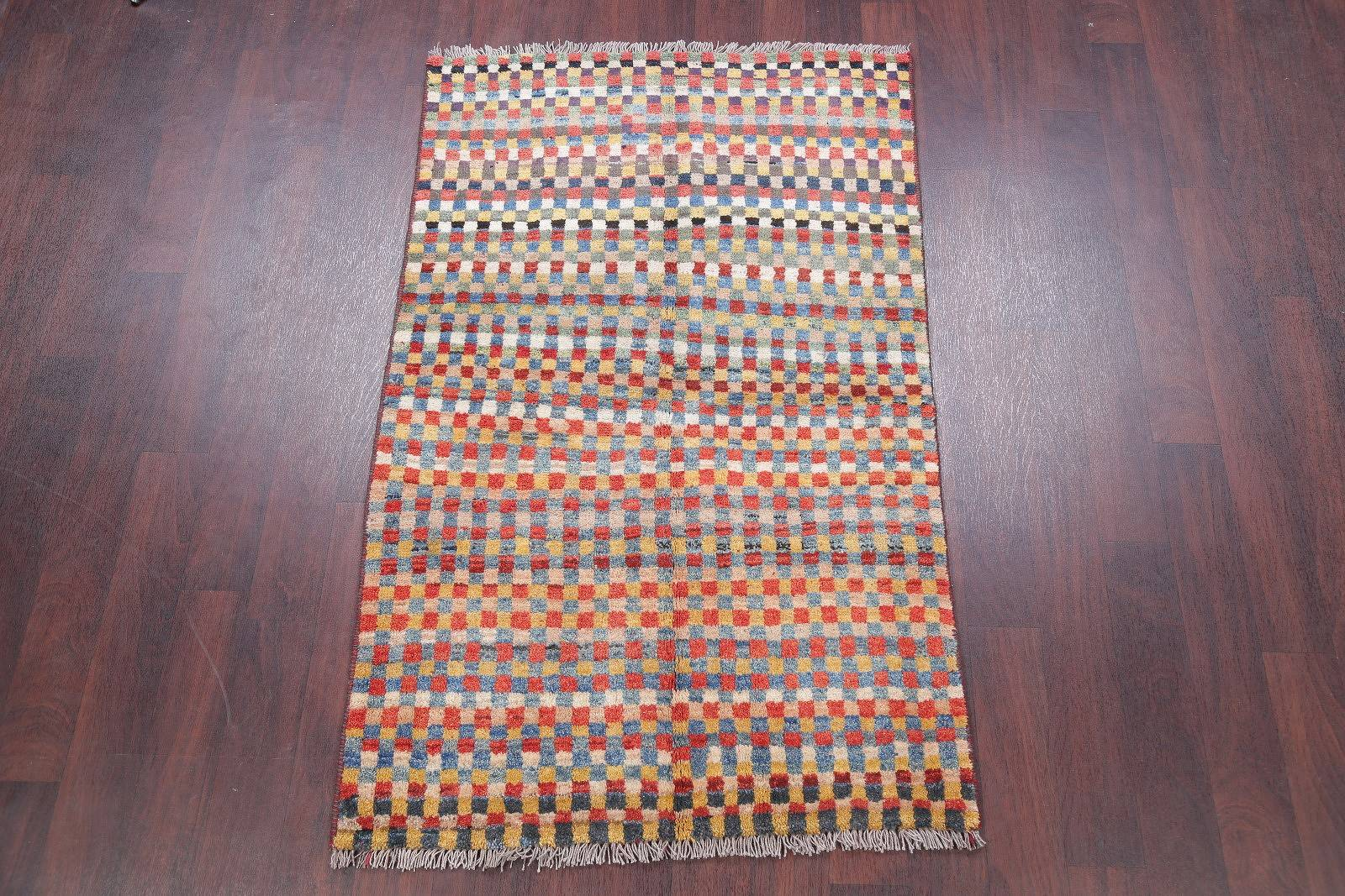 Checkered Gabbeh Persian Hand-Knotted 3x6 Wool Runner Rug