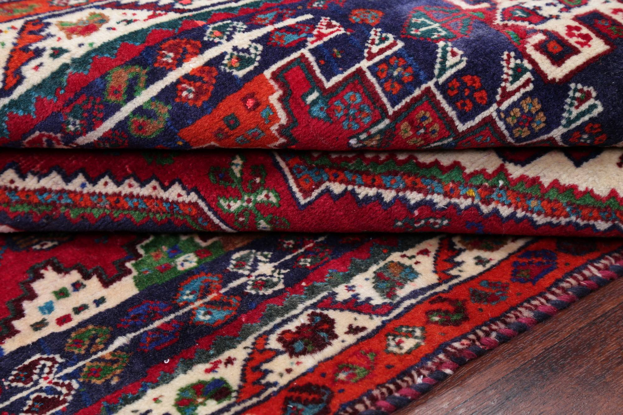 One of a Kind Red Tribal Geometric Abadeh Persian Hand-Knotted 3x5 Wool Rug