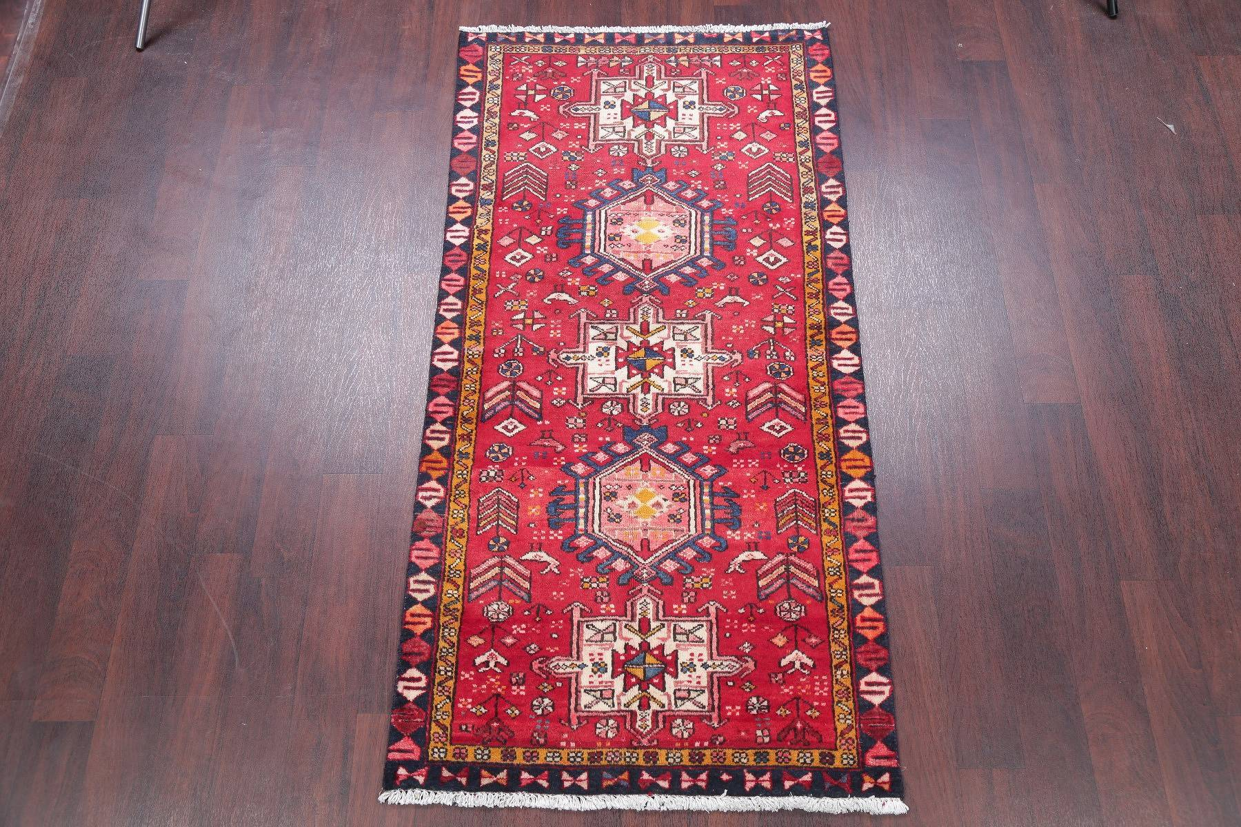 One of a Kind Tribal Geometric Gharajeh Persian Hand-Knotted 3x6 Wool Runner Rug