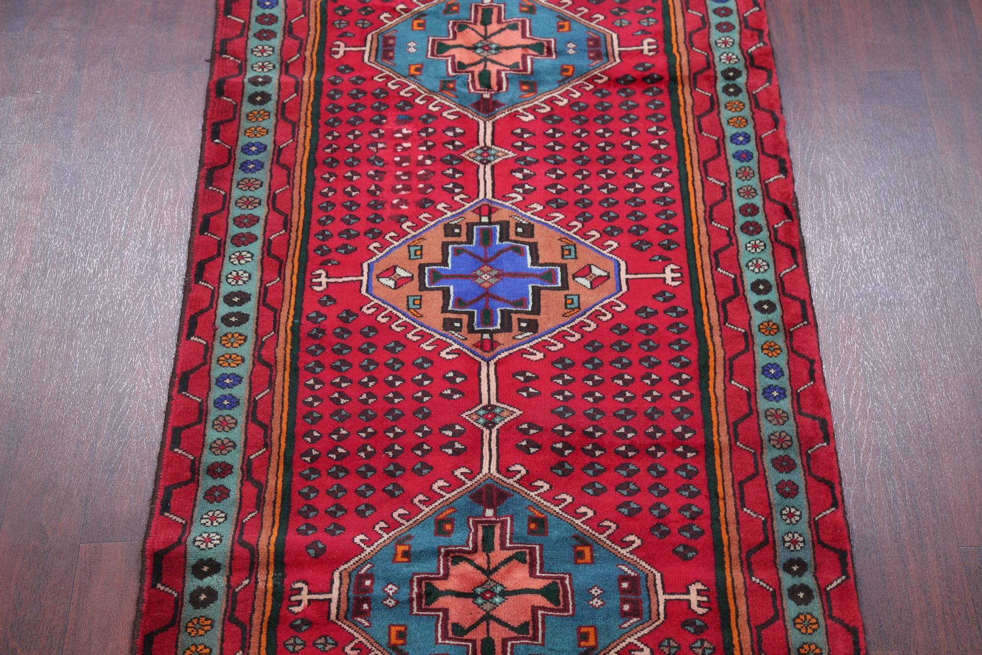 One of a Kind Red Tribal Hamedan Persian Hand-Knotted 4x7 Wool Area Rug