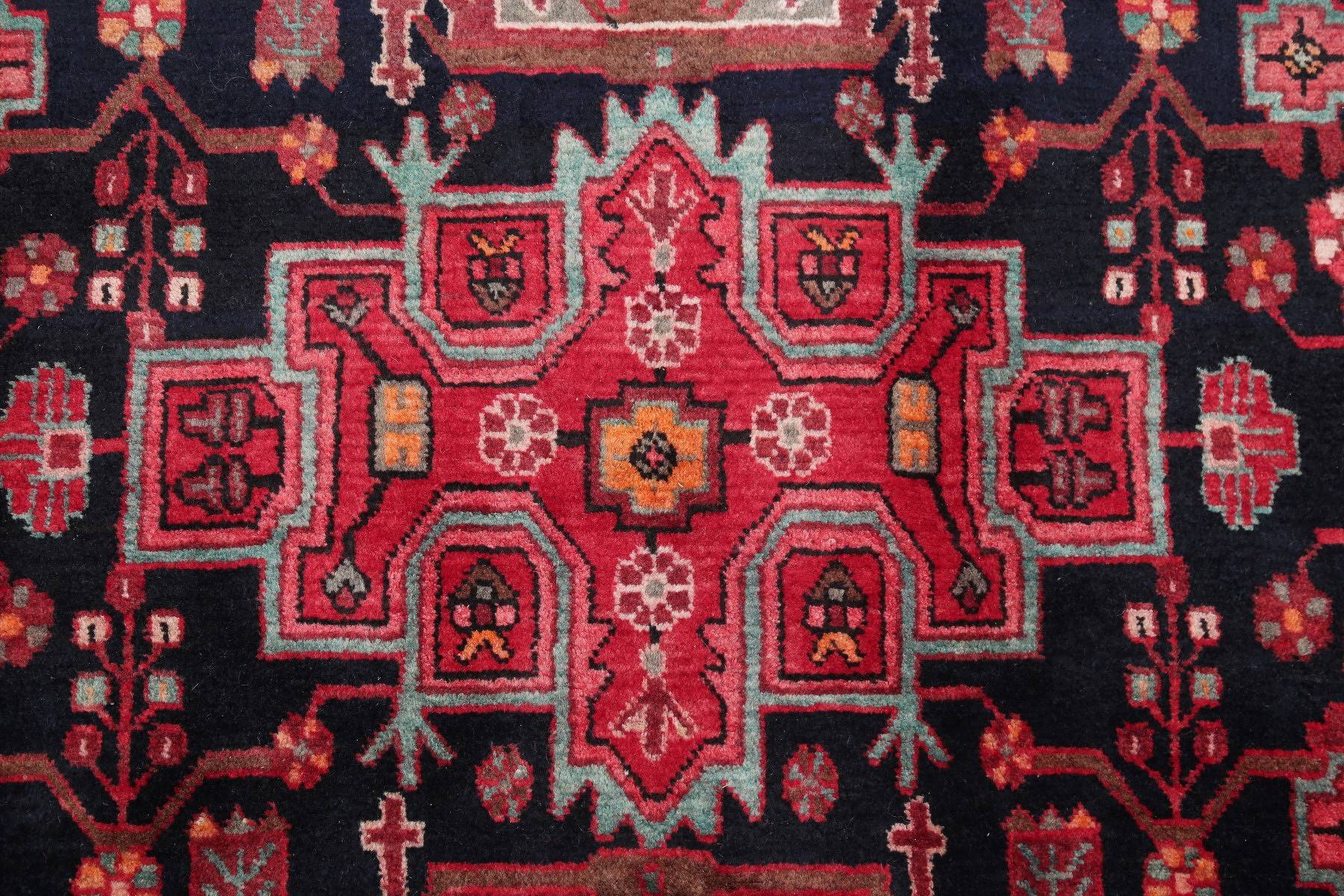 Black Tribal Geometric Nahavand Hamedan Persian Hand-Knotted 5x7 Wool Area Rug