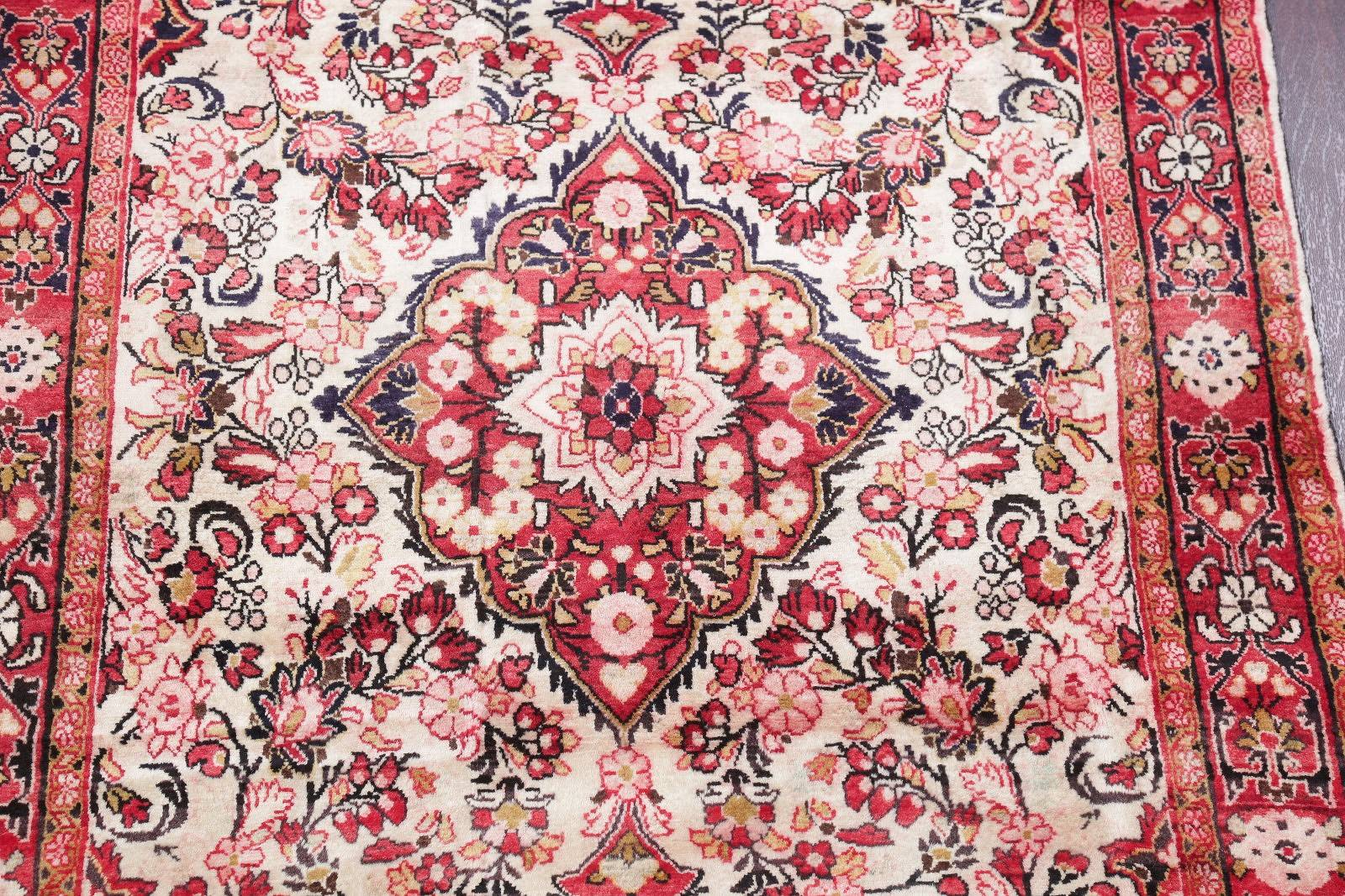 One of Kind Ivory Floral Sarouk Persian Hand-Knotted 4x7 Wool Area Rug