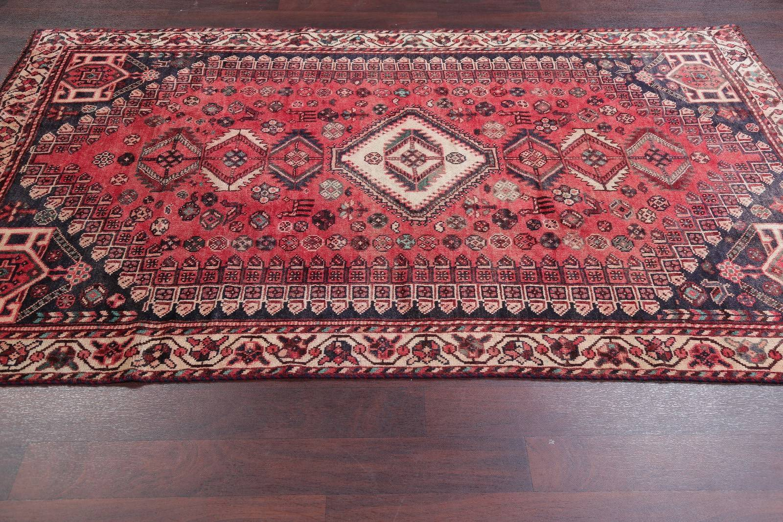 Antique Lori Shiraz Persian Hand-Knotted 5x8 Wool Area Rug
