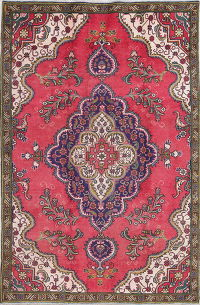 One Of a Kind Pink Geometric Tabriz Persian Hand-Knotted 5x8 Wool Area Rug