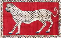 Animal Pictorial Cheetah Qashqai Persian Hand-Knotted 3x5 Wool Rug