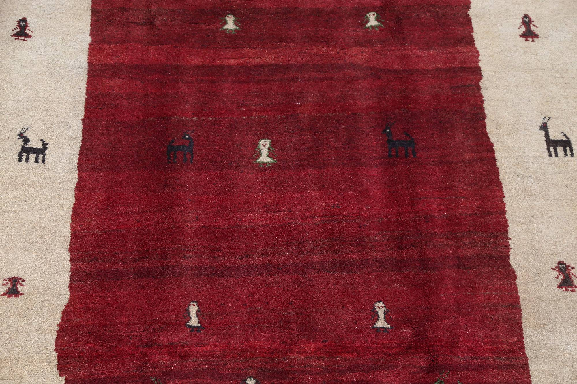 One of a Kind Tribal Gabbeh Persian Hand-Knotted 5x8 Wool Area Rug
