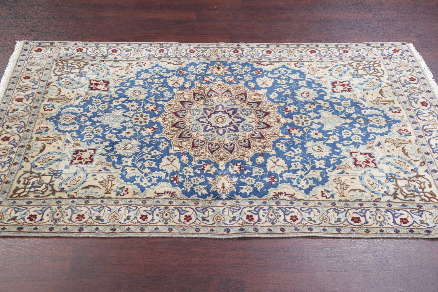 Antique Floral Nain Persian Hand Knotted 4x7 Light Blue