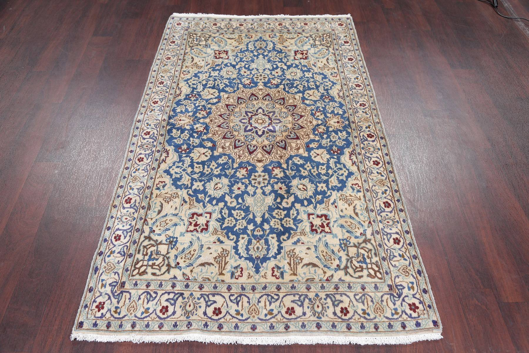 Antique Floral Nain Persian Hand-Knotted 4x7 Light Blue Wool Area Rug