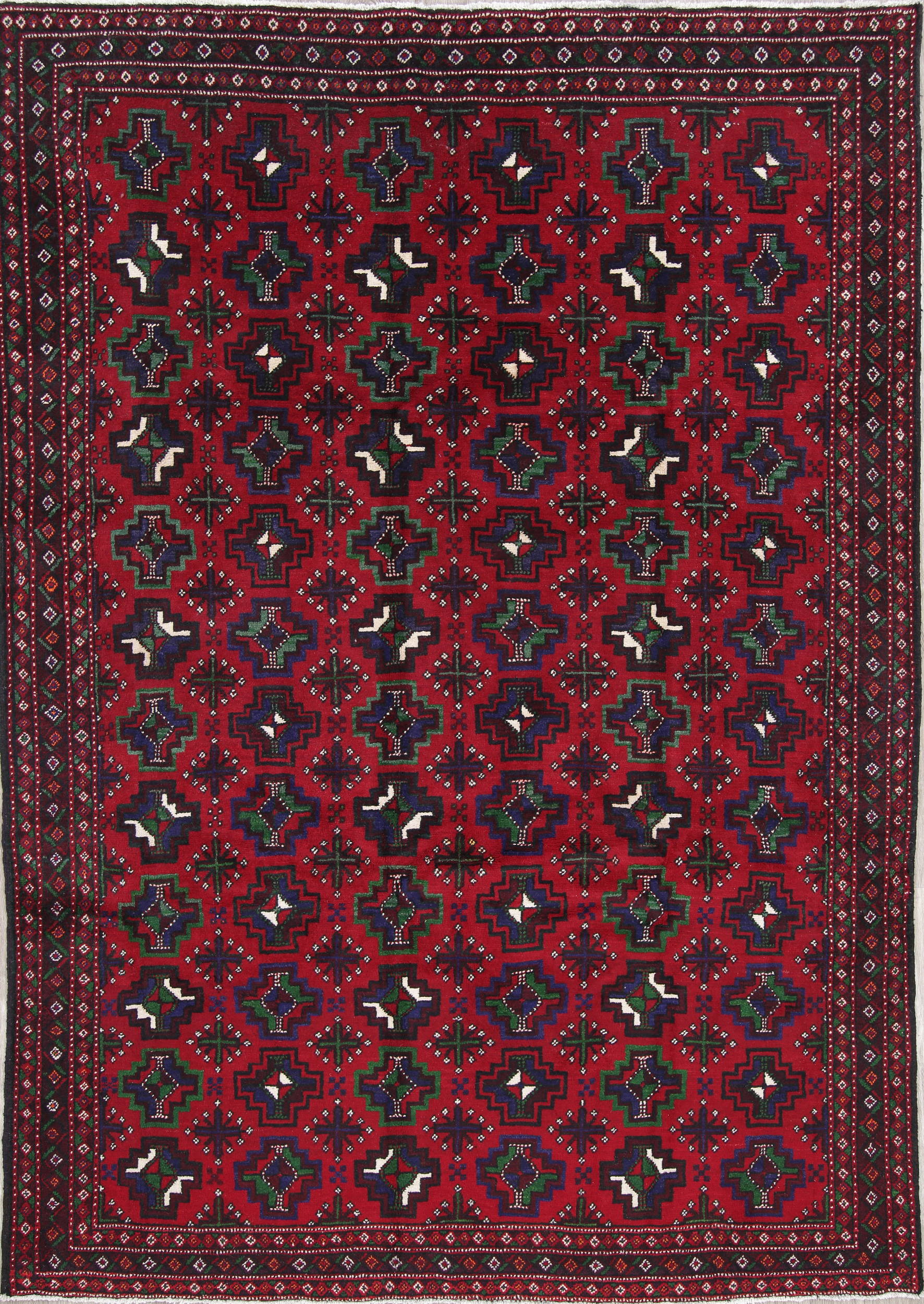 One-of-a-Kind Balouch Persian Hand-Knotted 7x10 Red Wool Area Rug