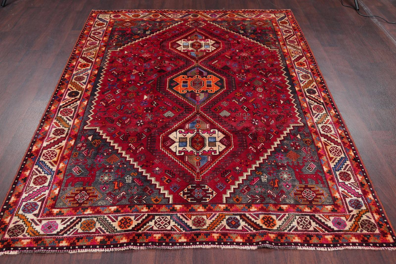 One of a Kind Tribal Abadeh Persian Hand-Knotted 6x8 Wool Area Rug