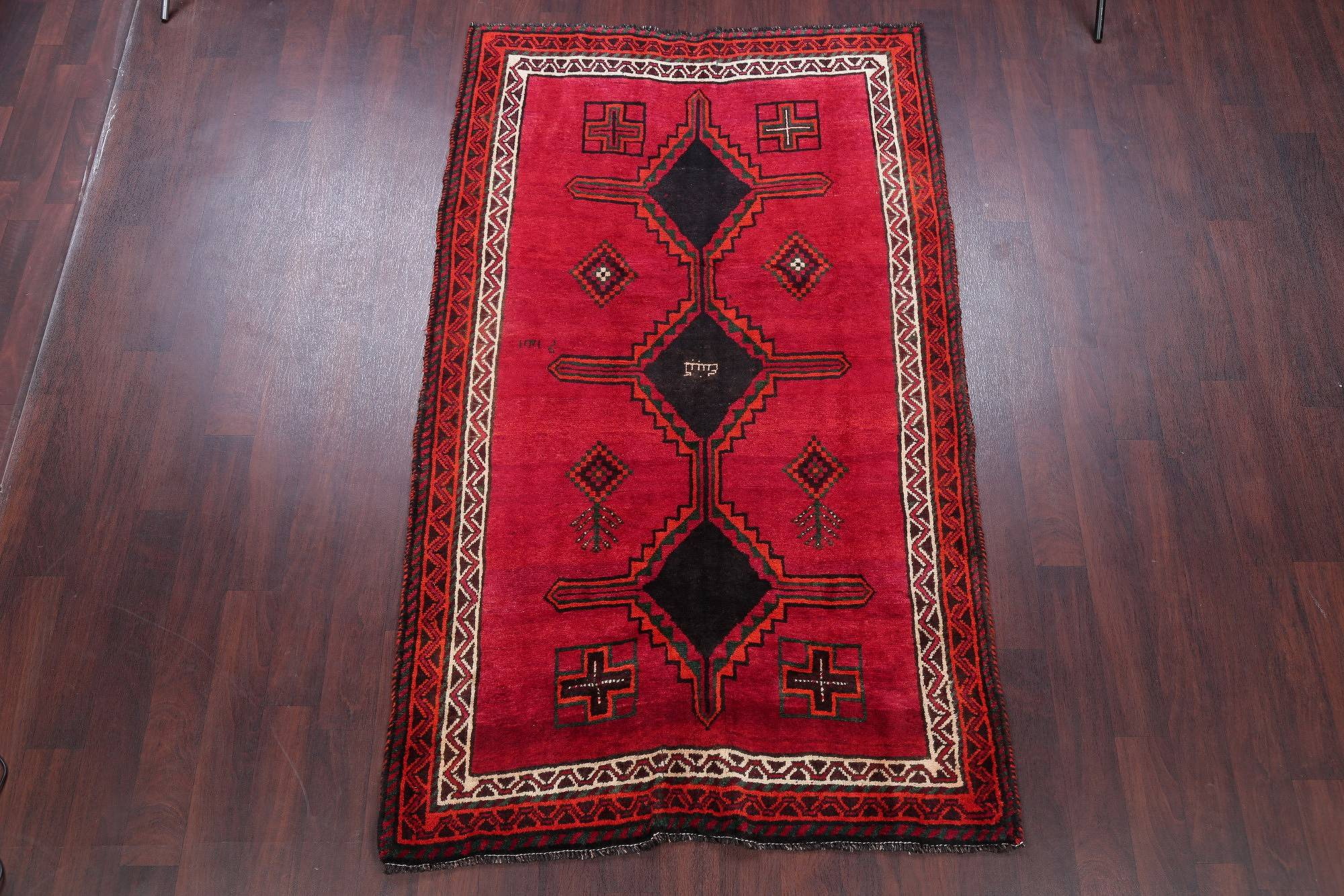 One of a Kind Tribal Vintage Lori Persian Hand-Knotted 5x8 Wool Area Rug