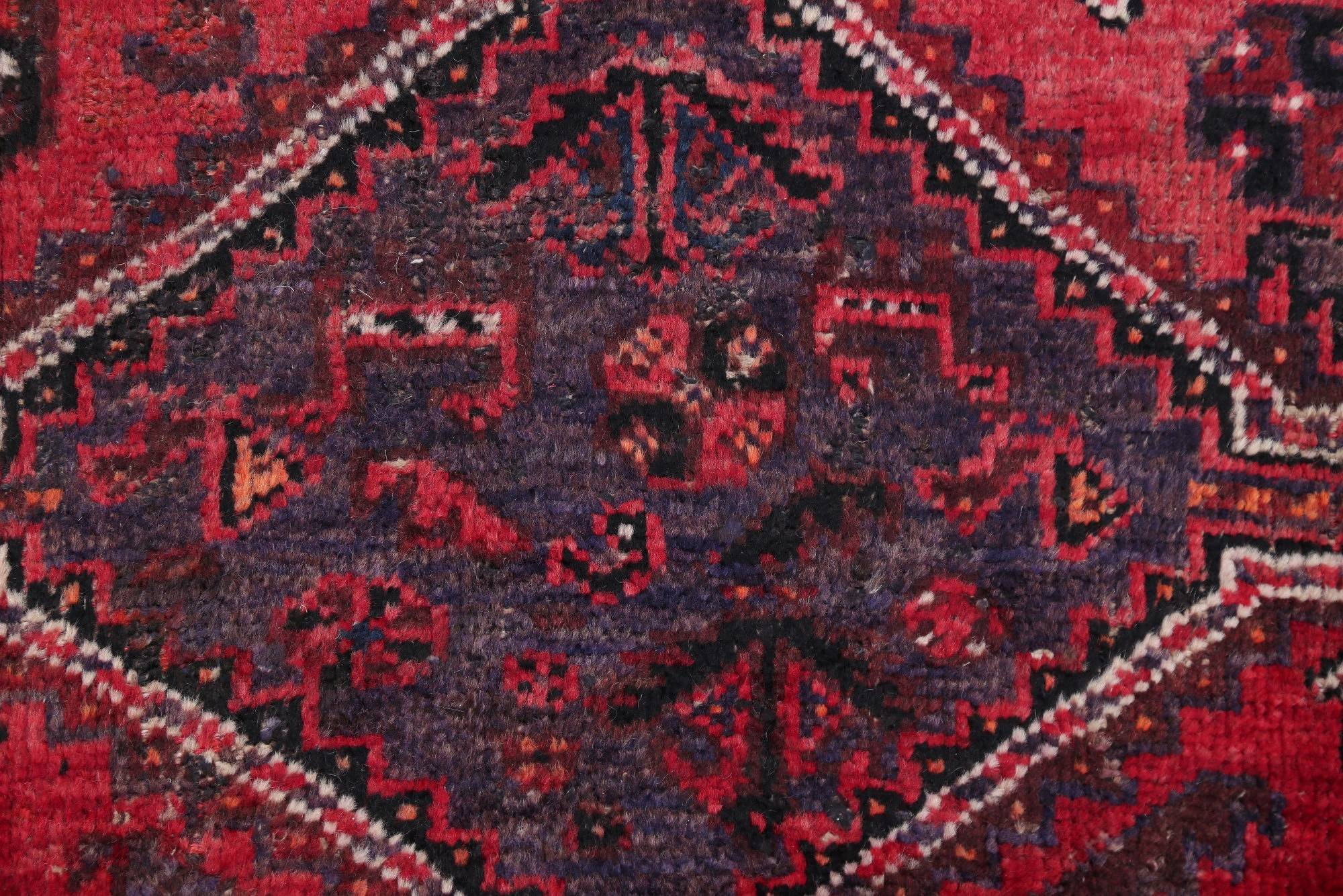 Antique Geometric Tribal Qashqai Persian Hand-Knotted 5x6 Pink Wool Area Rug