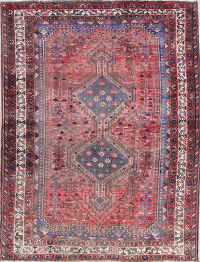 Antique Geometric Tribal Sirjan Persian Hand-Knotted 5x6 Wool Area Rug
