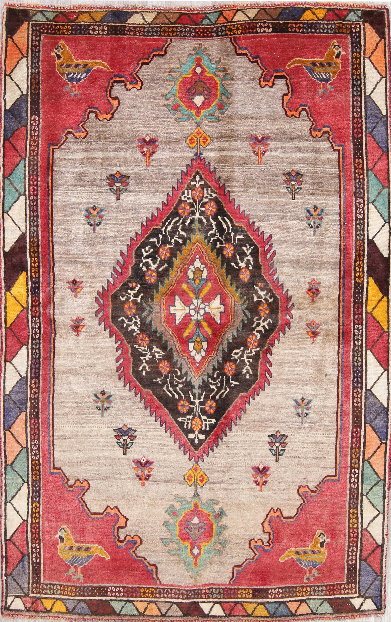 One of a Kind Tribal Gabbeh Qashqai Persian Hand-Knotted 4x6 Wool Area Rug