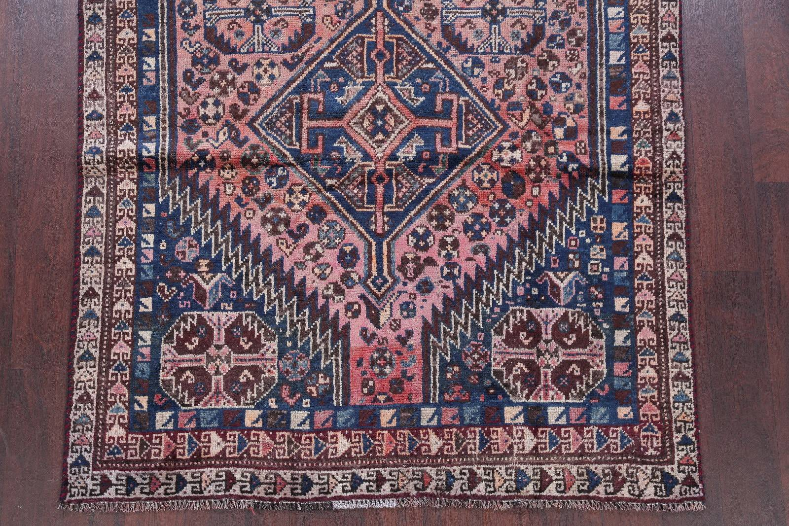 Antique Pink Tribal Lori Shiraz Persian Hand-Knotted 4x7 Wool Area Rug