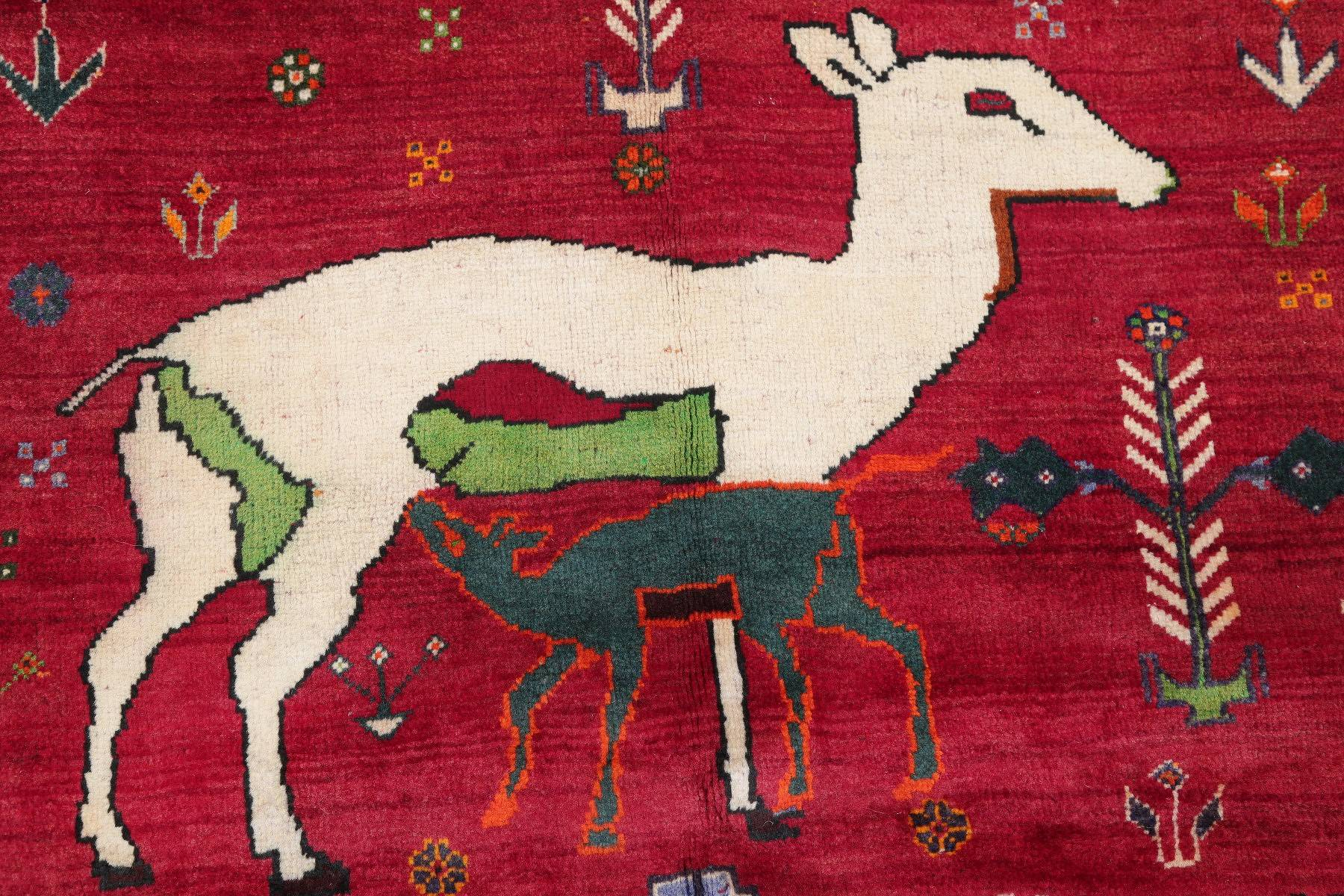 Animal Pictorial Gabbeh Qashqai Persian Hand-Knotted 3x5 Red Wool Rug