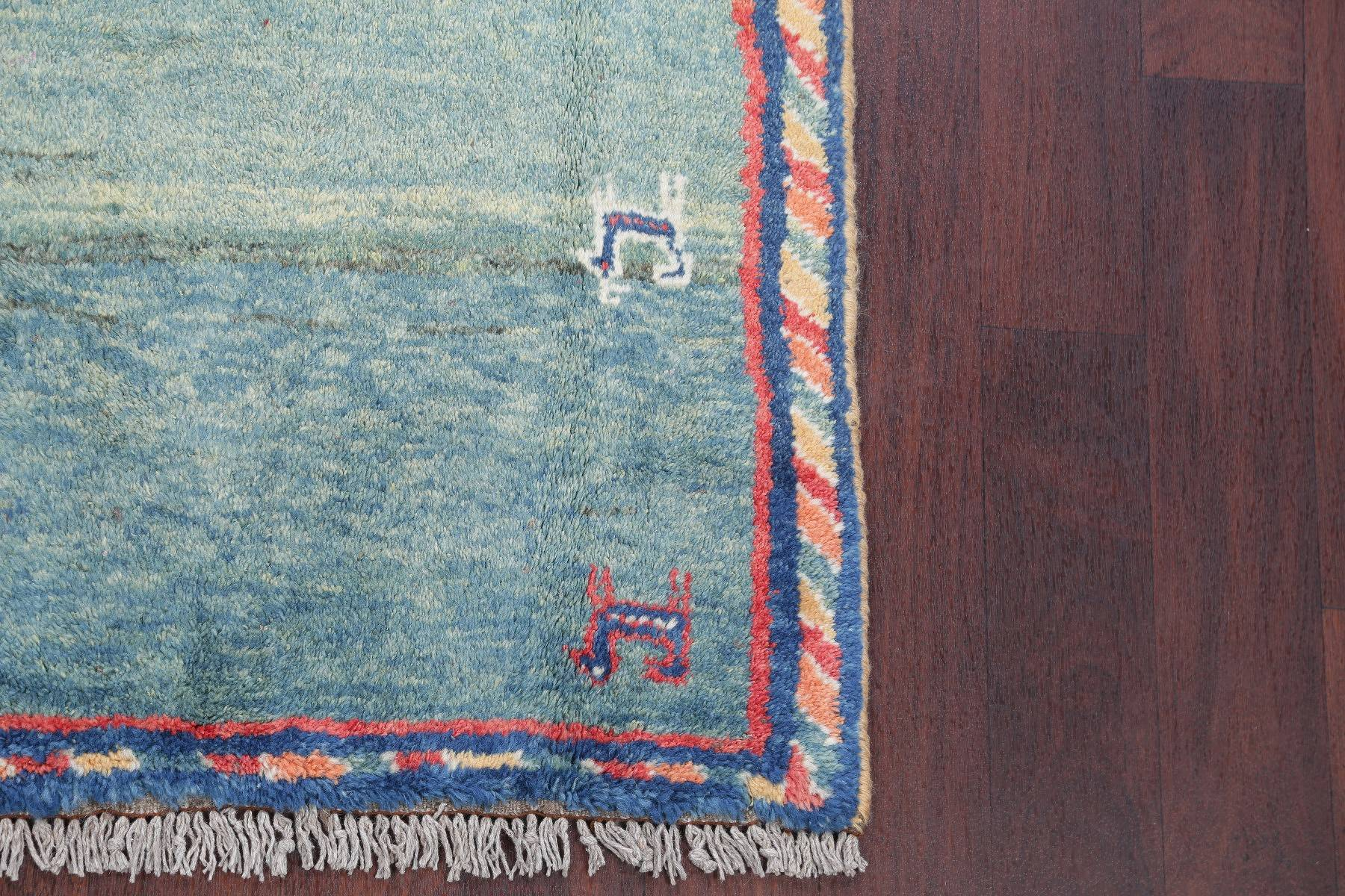 Teal Blue Green Tribal Gabbeh Persian Hand-Knotted 4x6 Wool Area Rug