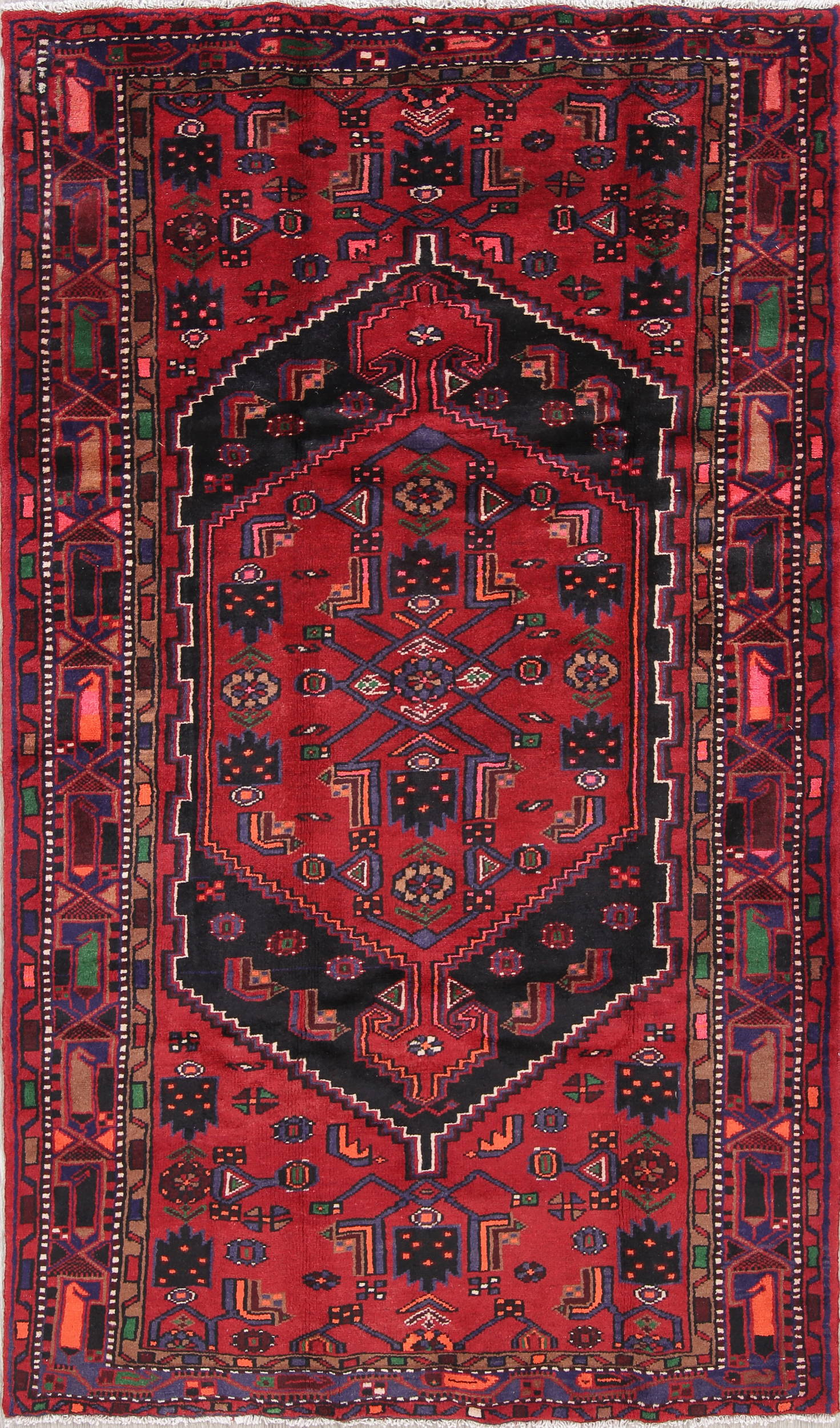 One of a Kind Tribal Hamedan Persian Hand-Knotted 5x8 Wool Area Rug