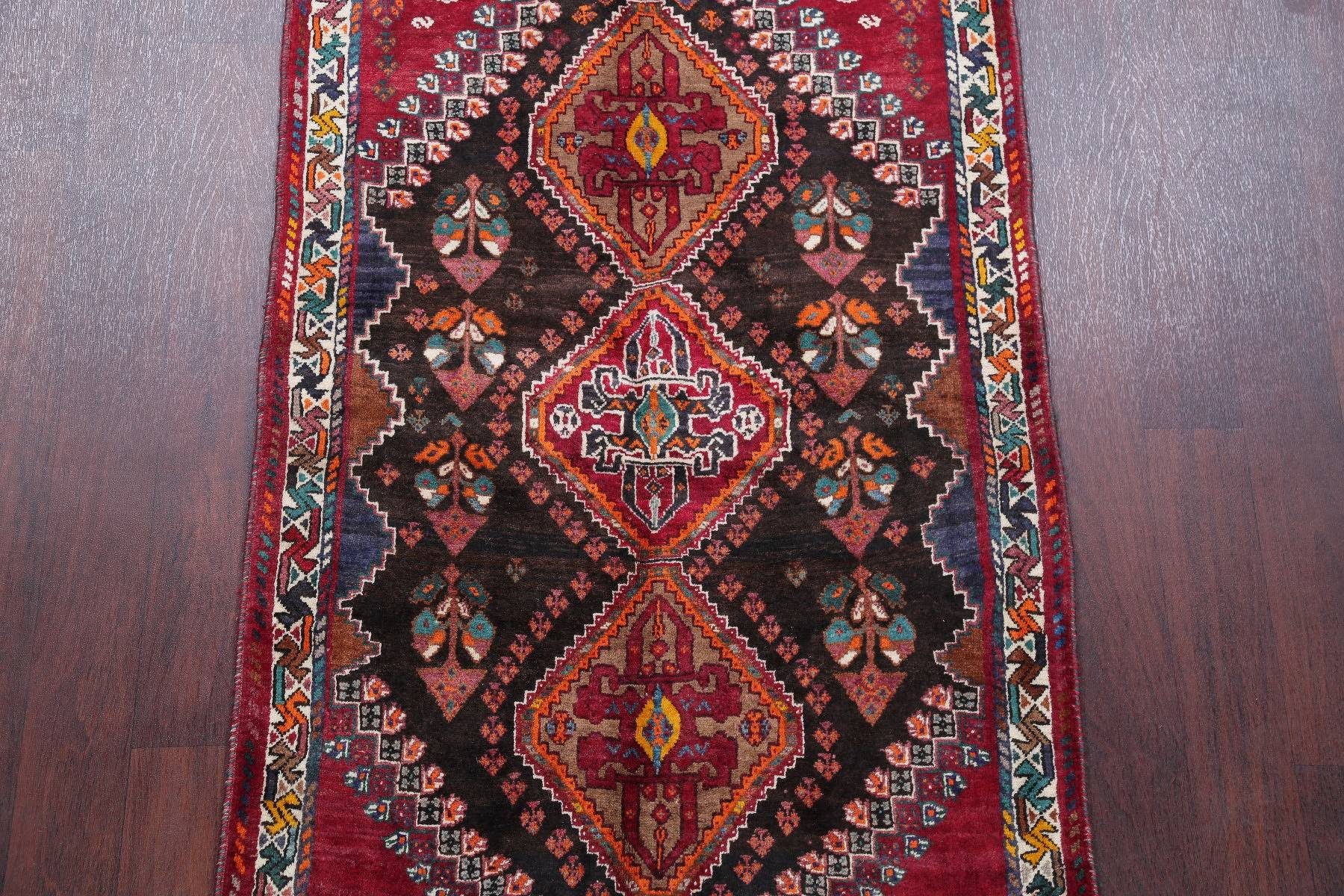 Vintage Geometric Tribal Abadeh Persian Hand-Knotted 3x6 Wool Runner Rug