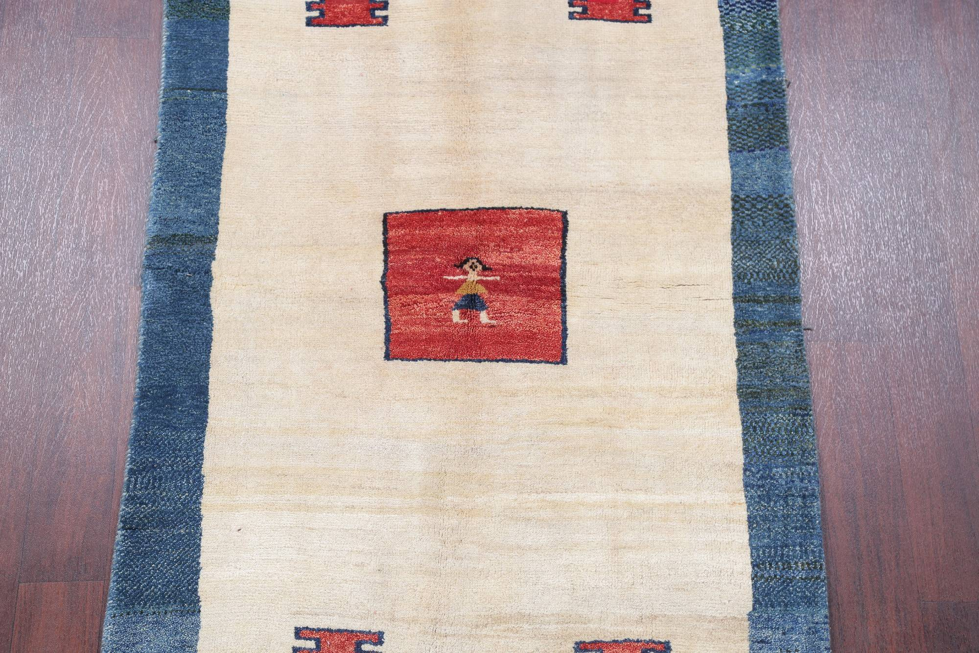 One of a Kind Tribal Gabbeh Persian Hand-Knotted 4x6 Wool Area Rug