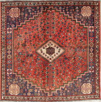 Antique Tribal Abadeh Persian Hand-Knotted 6x6 Wool Square Rug