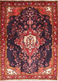 One of a Kind Floral Sarouk Persian Hand-Knotted 5x6 Wool Area Rug