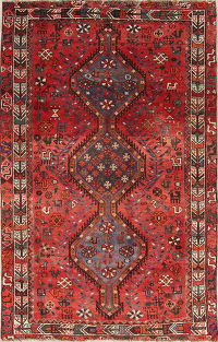 One of a Kind Red Tribal Lori Persian Hand-Knotted 4x7 Wool Area Rug