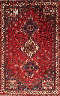 One of a Kind Red Tribal Shiraz Persian Hand-Knotted 5x8 Wool Area Rug