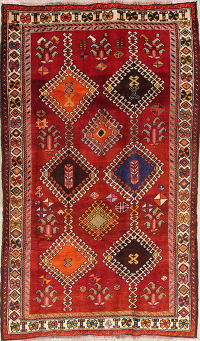 One of a Kind Tribal Gabbeh Qashqai Persian Hand-Knotted 4x8 Wool Area Rug