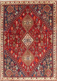 One of a Kind Red Tribal Abadeh Nafar Persian Hand-Knotted 4x5 Wool Rug