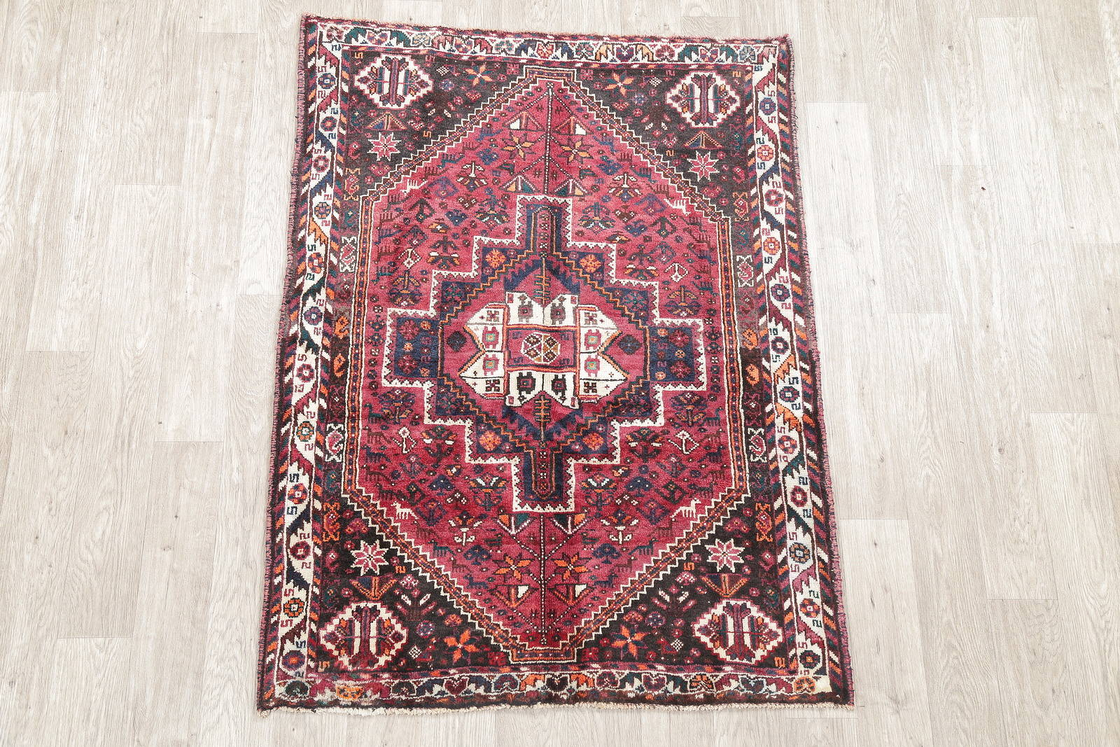 One of a Kind Beet Red Tribal Abadeh Persian Hand-Knotted 4x5 Wool Rug