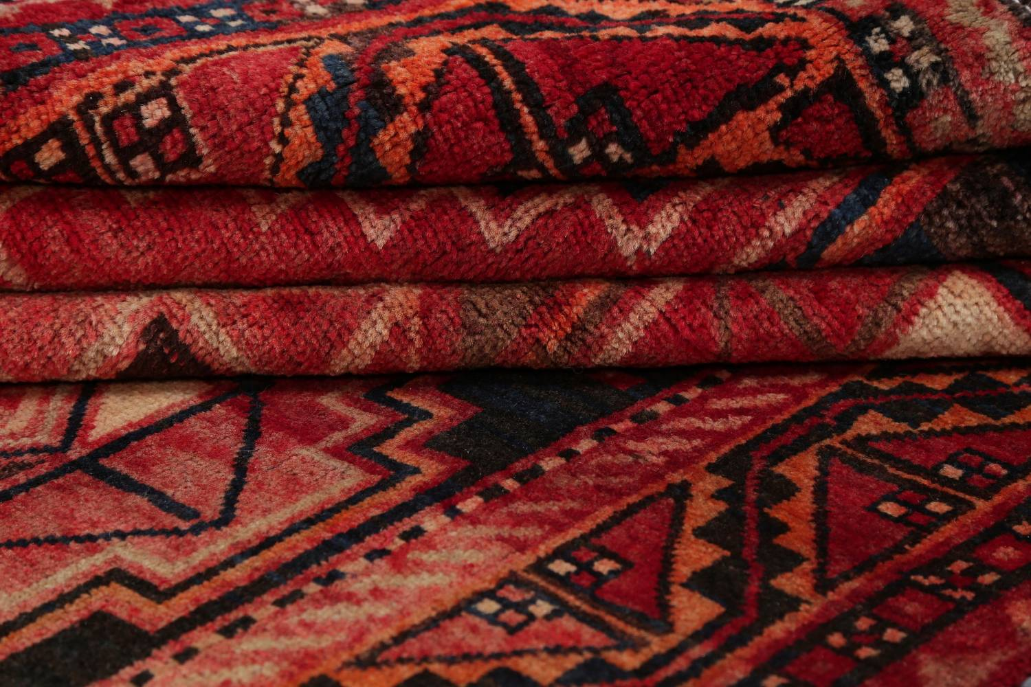 One of a Kind Antique Geometric Lori Persian Hand-Knotted 5x9 Wool Area Rug image 22