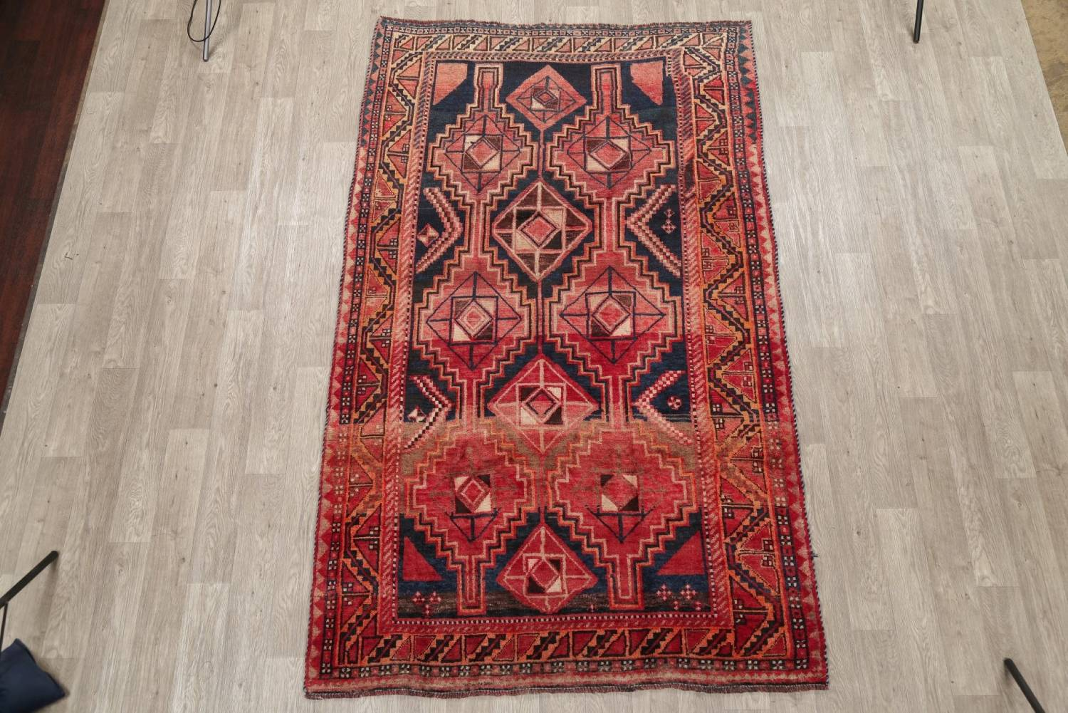 One of a Kind Antique Geometric Lori Persian Hand-Knotted 5x9 Wool Area Rug image 2