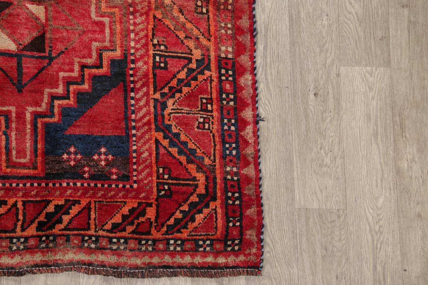 One of a Kind Antique Geometric Lori Persian Hand-Knotted 5x9 Wool Area Rug image 6