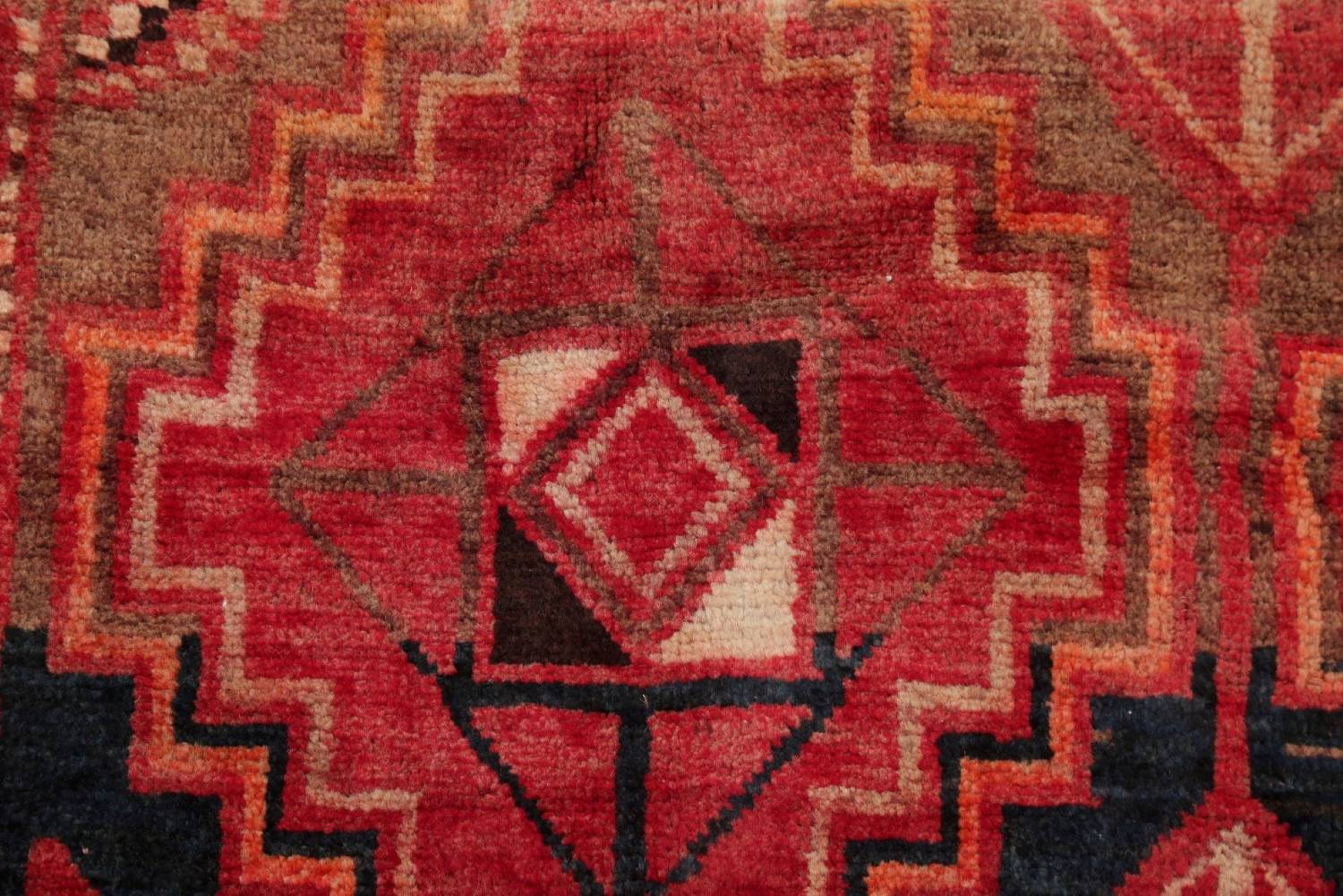 One of a Kind Antique Geometric Lori Persian Hand-Knotted 5x9 Wool Area Rug image 8