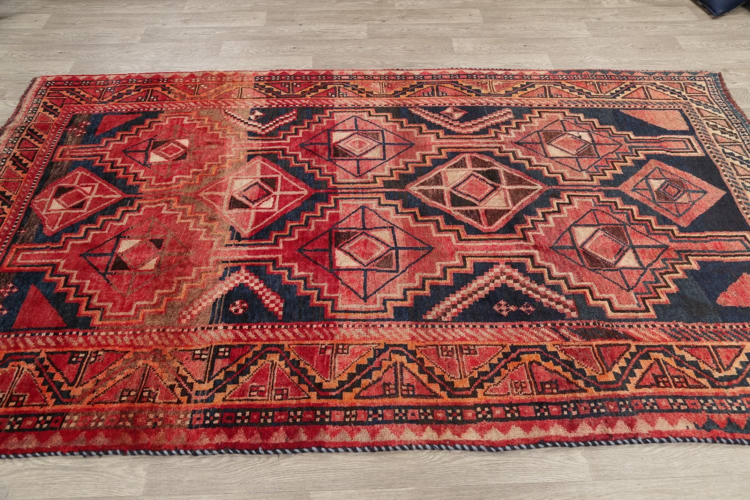 One of a Kind Antique Geometric Lori Persian Hand-Knotted 5x9 Wool Area Rug image 19