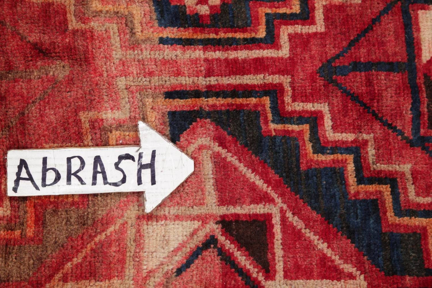 One of a Kind Antique Geometric Lori Persian Hand-Knotted 5x9 Wool Area Rug image 11