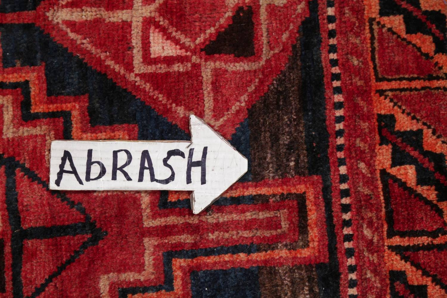 One of a Kind Antique Geometric Lori Persian Hand-Knotted 5x9 Wool Area Rug image 13
