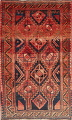 One of a Kind Antique Geometric Lori Persian Hand-Knotted 5x9 Wool Area Rug image 1