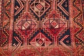 One of a Kind Antique Geometric Lori Persian Hand-Knotted 5x9 Wool Area Rug image 4