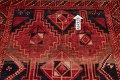 One of a Kind Antique Geometric Lori Persian Hand-Knotted 5x9 Wool Area Rug image 14