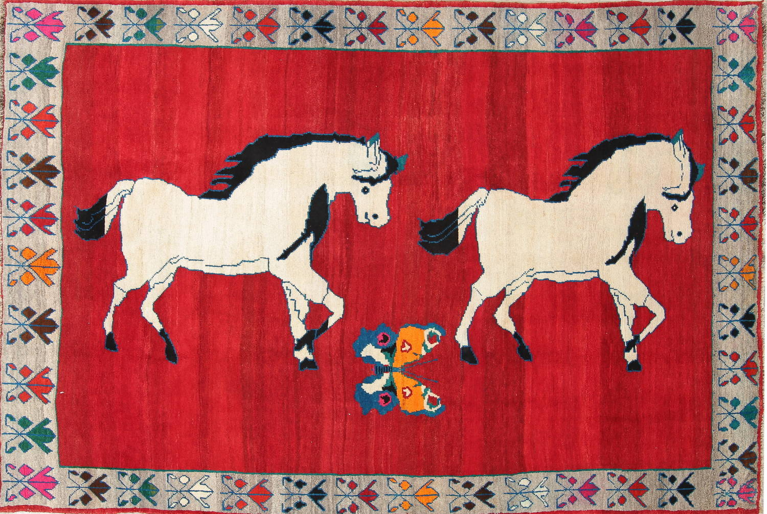 Animal Pictorial Gabbeh Persian Hand-Knotted 5x8 Wool Area Rug image 1