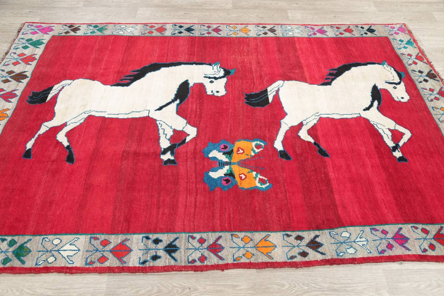 Animal Pictorial Gabbeh Persian Hand-Knotted 5x8 Wool Area Rug image 13