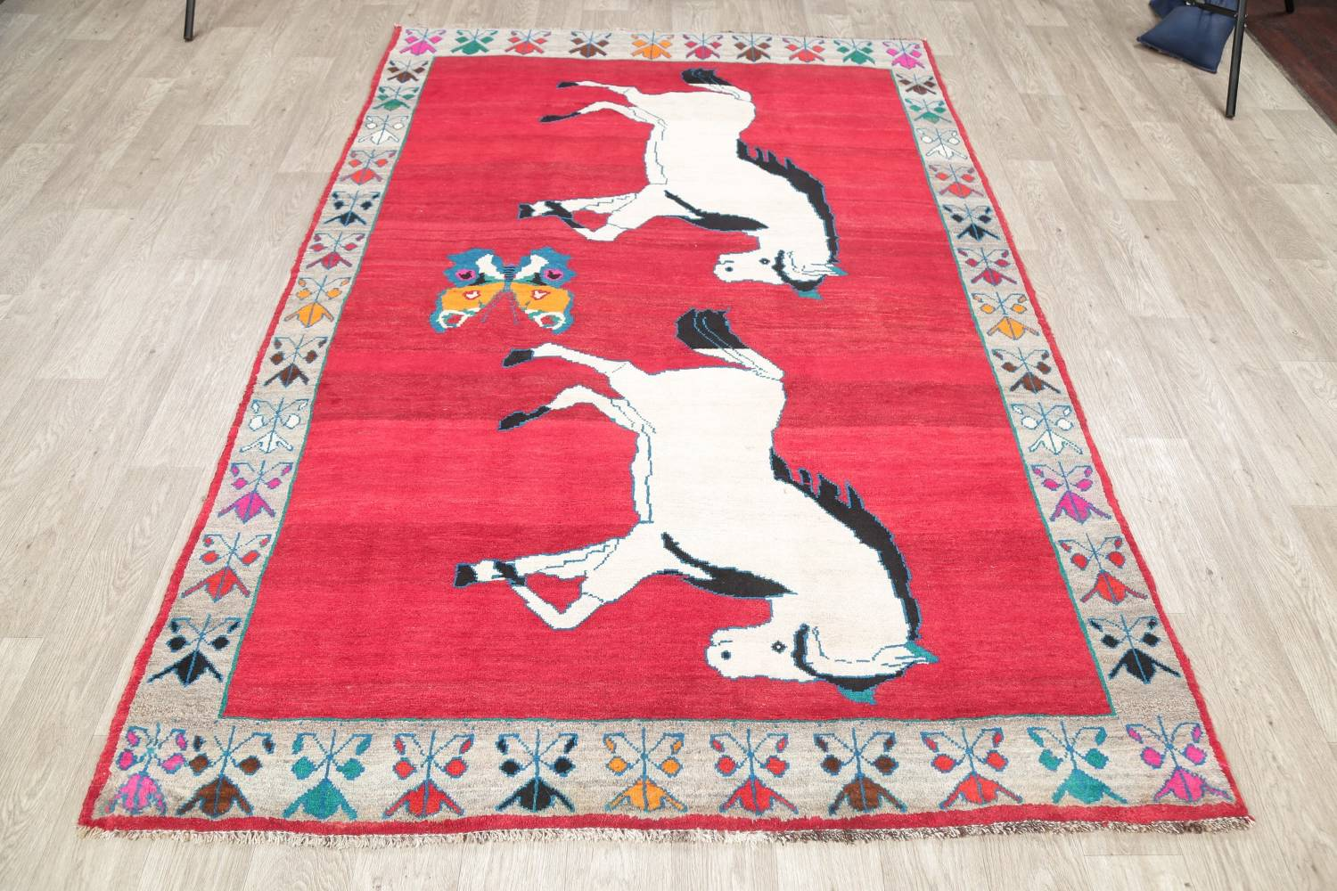 Animal Pictorial Gabbeh Persian Hand-Knotted 5x8 Wool Area Rug image 14