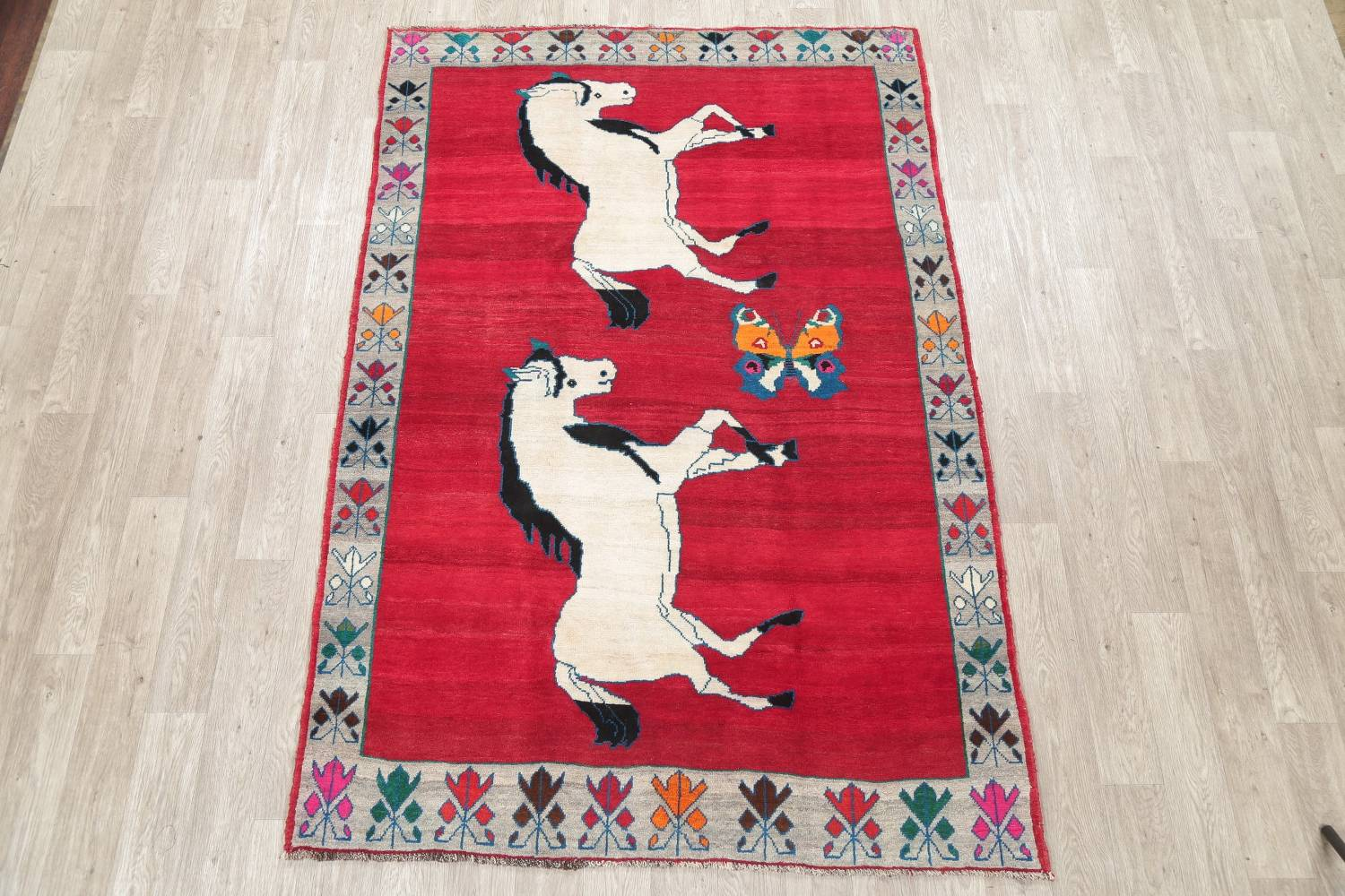 Animal Pictorial Gabbeh Persian Hand-Knotted 5x8 Wool Area Rug image 2
