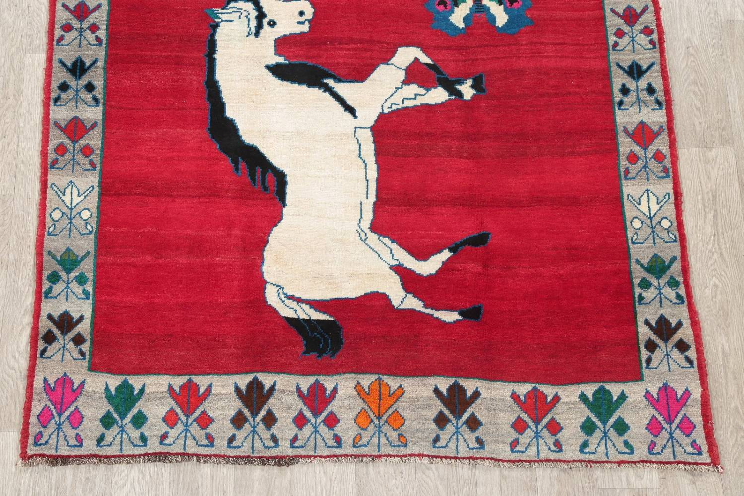 Animal Pictorial Gabbeh Persian Hand-Knotted 5x8 Wool Area Rug image 5