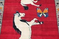 Animal Pictorial Gabbeh Persian Hand-Knotted 5x8 Wool Area Rug image 4