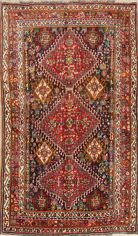 One of a Kind Tribal Kashkoli Persian Hand-Knotted 3x5 Wool Rug