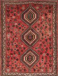 One of a Kind Tribal Geometric Shiraz Persian Hand-Knotted 4x5 Wool Area Rug